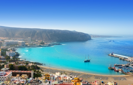 arona: Aerial view of Los Cristianos beach in Arona Tenerife Canary Islands
