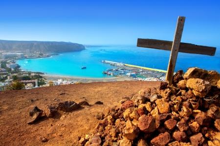 arona: Aerial view of Los Cristianos beach in Arona Tenerife Canary Islands