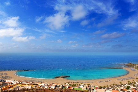 Aerial view Las Vistas beach in Arona south Tenerife 스톡 콘텐츠