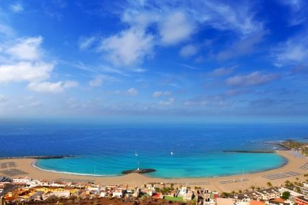 arona: Aerial view Las Vistas beach in Arona south Tenerife Stock Photo