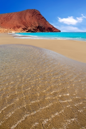 canarian: Beach Playa de la Tejita turquoise in Tenerife Canary islands with red mountain