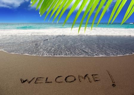 Plage de sable brun avec des mots écrits Bienvenue dans les îles Canaries Banque d'images