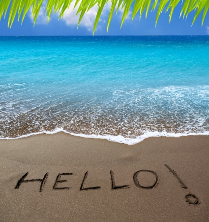 Brown sand beach with written word Hello in Canary Islands photo