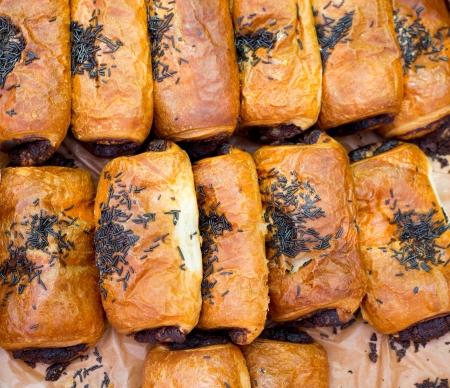 neapolitan: Bakery Croissant Neapolitan chocolate cakes in a row