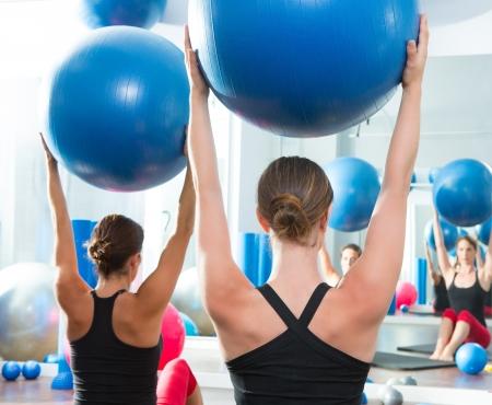 pilate: Boule de stabilit� chez les femmes Bleu classe d'affichage Pilates r�troviseur