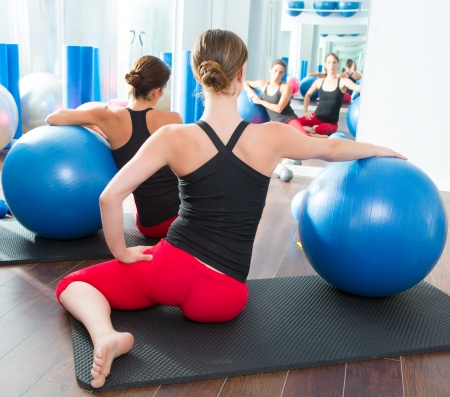 limber: Blue stability ball in women Pilates class rear mirror view