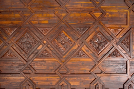 ceiling texture: Santa Cruz de La Palma coffered wood ceiling in Canary Islands