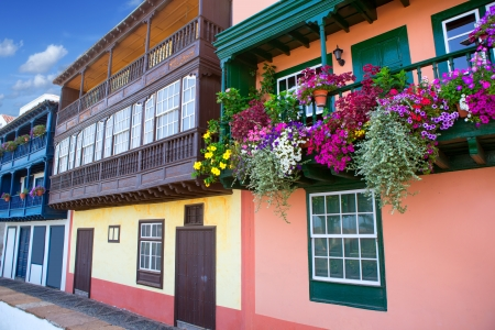 canarian: Santa Cruz de La Palma colonial flowers house facades in canary Islands Stock Photo