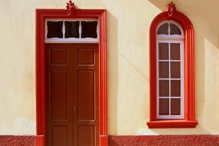 colonial: Santa Cruz de La Palma colonial street house facades in canary Islands