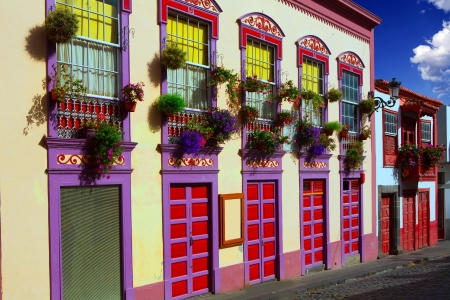colonial house: Santa Cruz de La Palma colonial flowers house facades in canary Islands Stock Photo
