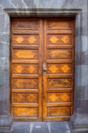 Ancient wooden door Santa Cruz de La Palma in Canary islands photo
