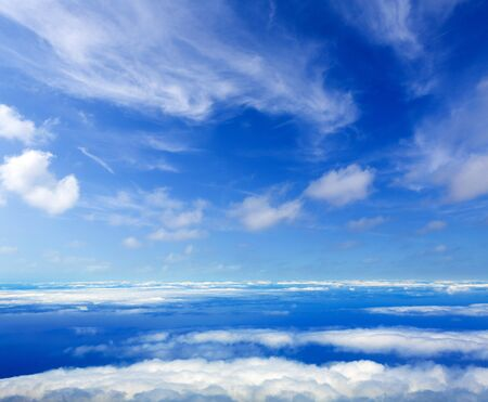 Blue perfect sky sea of clouds from high altitude in canary Islands Stock Photo
