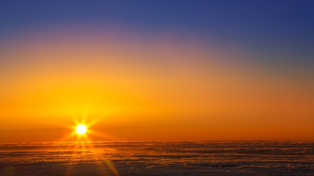 over the sea: Sunset sky over haze sea of clouds in La Palma of Canary Islands