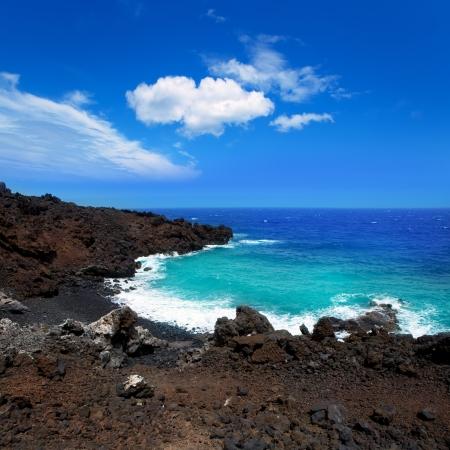 briny: Atlantic volcanic black coast in la Palma with foam in funecaliente Canary Islands Stock Photo
