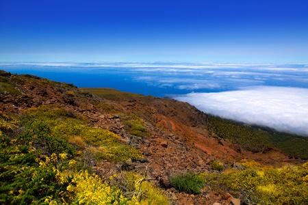 caldera: Blue sky sea of clouds in La Palma  Caldera de Taburiente Canary Island Stock Photo