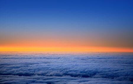 nightfall: La Palma sunset over sea of clouds in Caldera de Taburiente Canary Islands