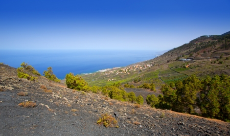 stone volcanic stones: Crater in La Palma San Antonio volcano Fuencaliente at Canary islands Stock Photo