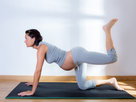 lying on stomach: Beautiful pregnant woman at gym fitness exercise practicing aerobics on mat Stock Photo