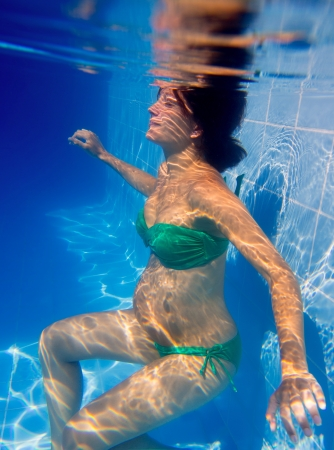 Beautiful pregnant woman underwater blue pool relaxed photo