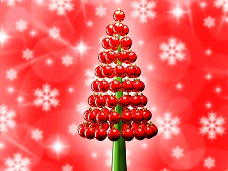 Christmas tree of glossy red baubles balls 3d render and snowflakes Stock Photo - 15703209
