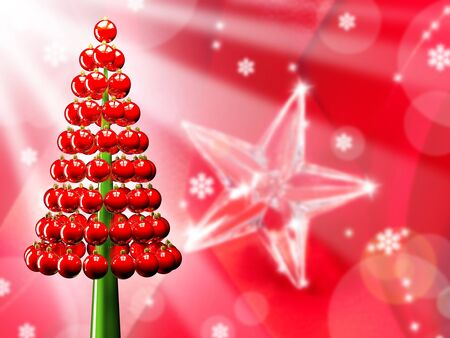Christmas tree of glossy red baubles balls 3d render and snowflakes Stock Photo - 15703193