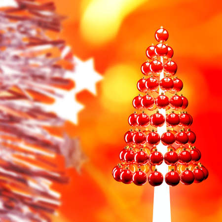 Christmas tree of glossy red baubles balls 3d render Stock Photo - 15702991