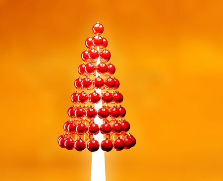 Christmas tree of glossy red baubles balls 3d render on yellow photo