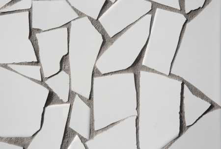 trencadis: trencadis mosaic of white broken tiles in Mediterranean with cement gray joints
