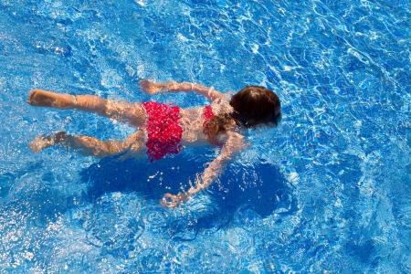 bikini kid girl swimming on blue tiles pool in summer vacation Stock Photo - 15935574