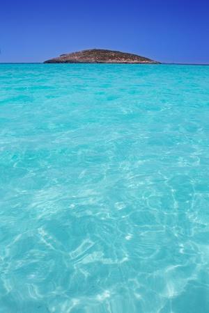 formentera: beach Illetas Illetes in Formentera near Ibiza with aqua water