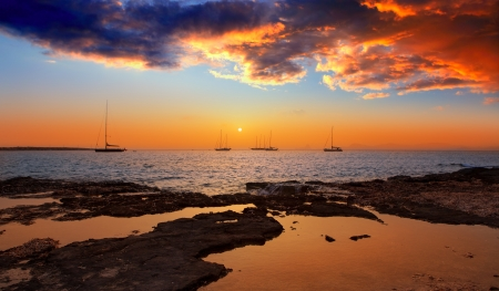 es: colorful sunset of Ibiza view from formentera with Es Vedra