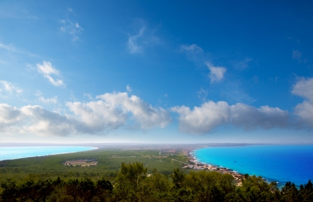 Aerial formentera view with north and south beach unde blue sky photo