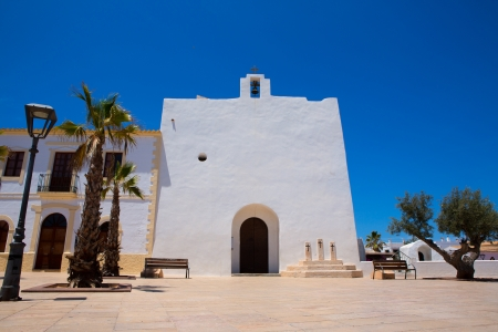 formentera: Sant Francesc Javier white church in Formentera at Balearic Islands