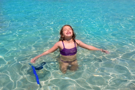 aqua water beach and open arms bikini little kid girl photo