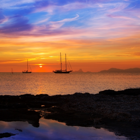 ibiza: colorful sunset of Ibiza view from formentera with Es Vedra