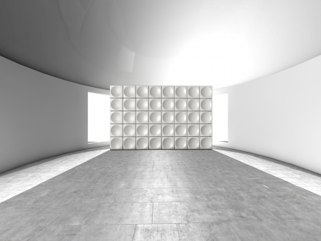 empty room: Abstract indoor futuristic indoor with acoustic wall with circles