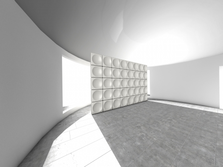 futuristic interior: Abstract indoor futuristic indoor with acoustic wall with circles