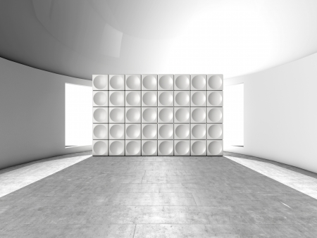 Abstract indoor futuristic indoor with acoustic wall with circles Stock Photo - 15901616