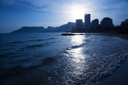 cantal: Cantal roig beach in blue sunset at Calpe in Alicante on Valencia province