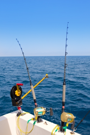 boat trolling fishing gear downrigger and two rods with golden reels photo