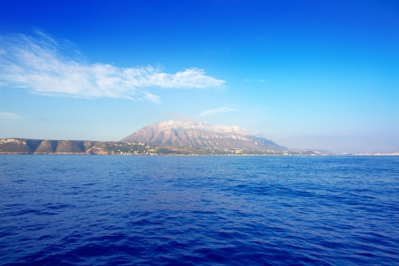 vac: Alicante province Denia village with Mongo viewed from the sea
