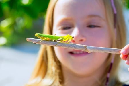 predatory insect: scientific naturalist biologist kid girl looking praying mantis insect closeup