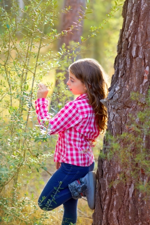girl in the forest: beautiful kid girl profile looking plants in pine forest outdoor Stock Photo