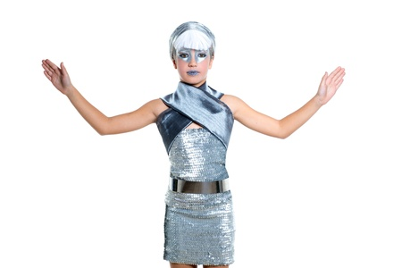 robot girl: children futuristic fashion children girl silver makeup and open hands on white