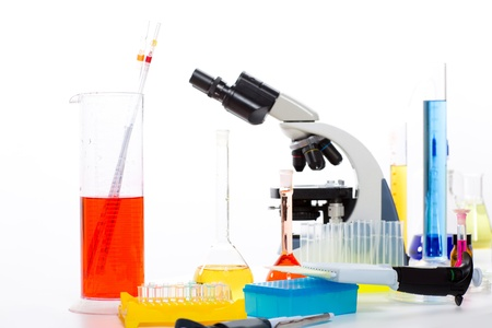 Chemical laboratory with microscope test tube flask pipette photo