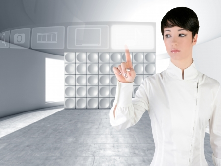 Futuristic woman touch finger copyspace in modern indoor with web holographic icons photo