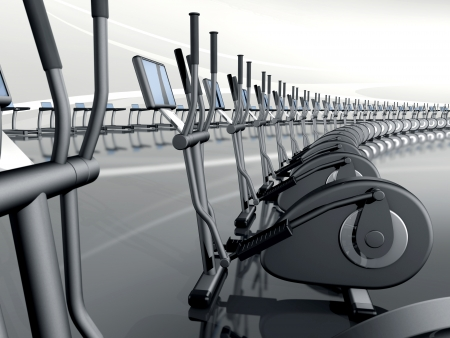 Futuristic huge curved modern gym with many elliptical cross trainer in a row photo