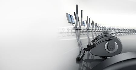 eliptica: Futurista enorme gimnasio con entrenador curvado moderno muchos elíptica en una fila Foto de archivo