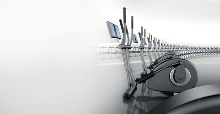 crosstrainer: Futuristic huge curved modern gym with many elliptical cross trainer in a row