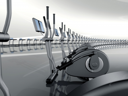 gymnasium: Futuristic huge curved modern gym with many elliptical cross trainer in a row